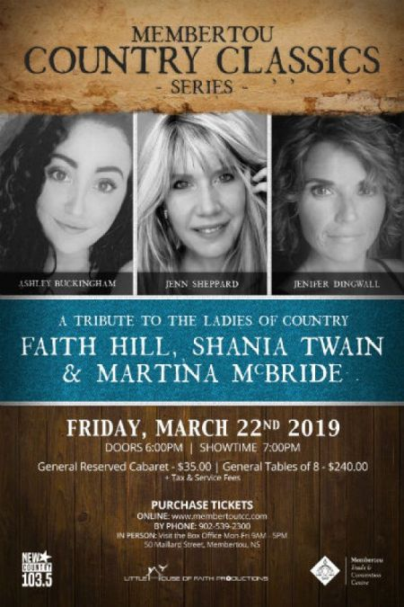 Membertou Classic Country Series: WOMEN OF COUNTRY at Membertou Trade & Convention Centre - Kluskap Room Fri Mar 22 2019 at 7:00 pm