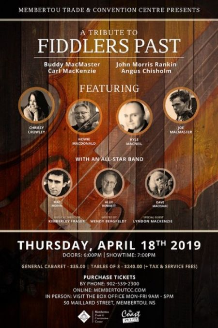 Membertou presents: A TRIBUTE TO FIDDLERS PAST at Membertou Trade & Convention Centre - Kluskap Room Thu Apr 18 2019 at 7:00 pm