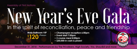 Assembly of First Nations New Year's Eve VIP Gala at Membertou Trade & Convention Centre - Kluskap Room Mon Dec 31 2018 at 7:00 pm