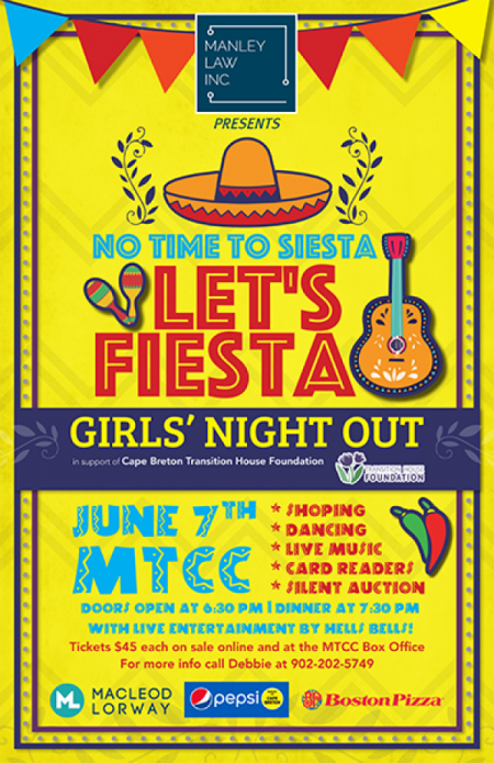 Manley Law Inc. presents Girls' Night Out - Let's Fiesta at Membertou Trade & Convention Centre - Kluskap Room Fri Jun 7 2019 at 7:30 pm