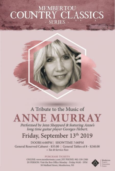 Membertou presents: A TRIBUTE TO ANNE MURRAY at Membertou Trade & Convention Centre - Kluskap Room Fri Sep 13 2019 at 7:00 pm