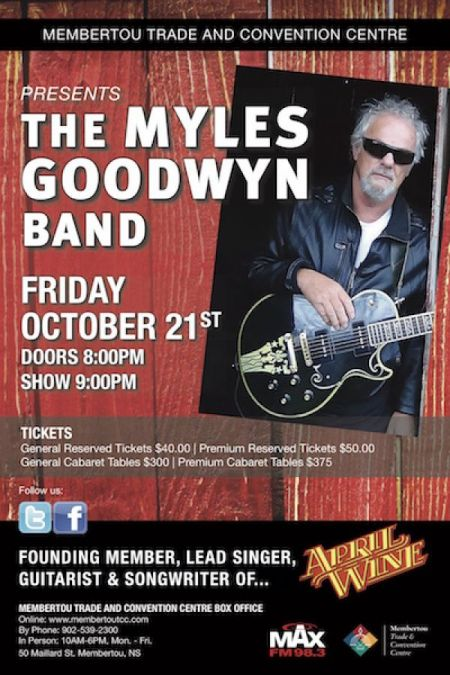 THE MYLES GOODWYN BAND at Membertou Trade & Convention Centre - Kluskap Room Fri Oct 21 2016 at 9:00 pm