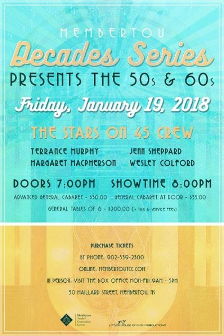 The Decade Series - 50s & 60s at Membertou Trade & Convention Centre - Kluskap Room Fri Jan 19 2018 at 8:00 pm